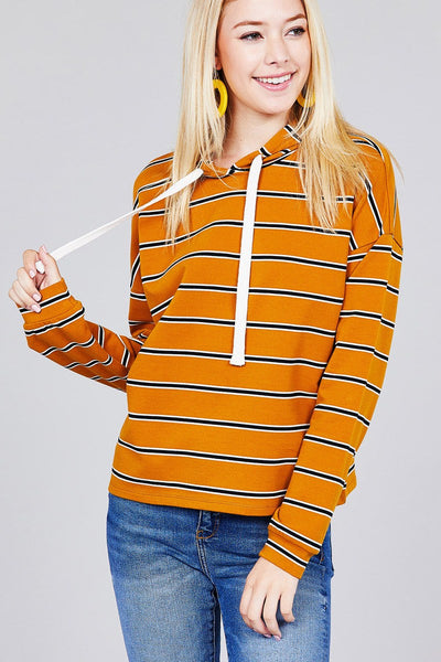 Ladies fashion plus size long sleeve hoodie w/drawstring stripe french terry top
