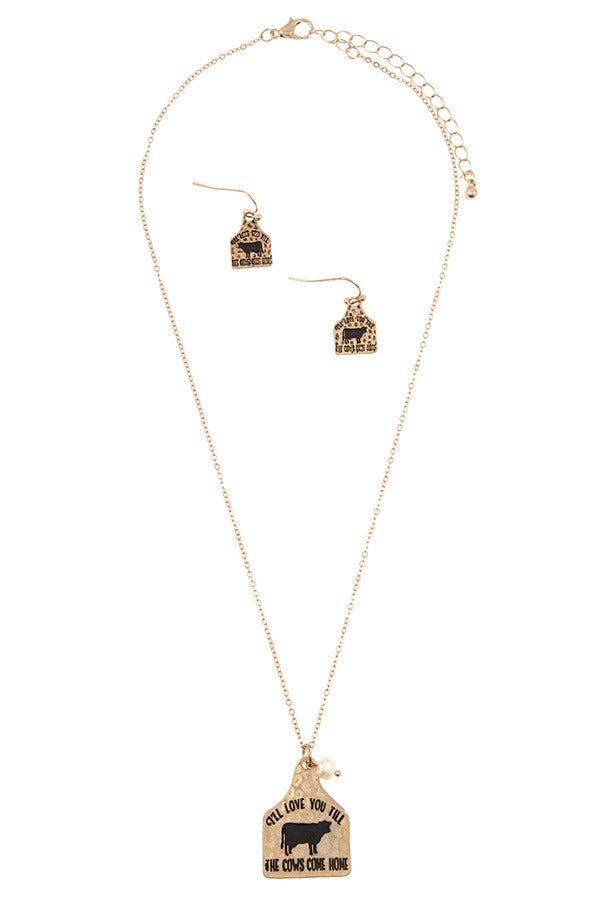 Ill love you till the cows come home pendant necklace set