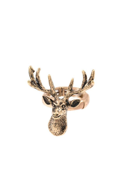 Reindeer etched stretch ring