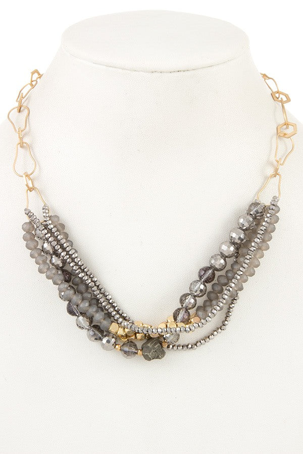 Multi bead link chain necklace