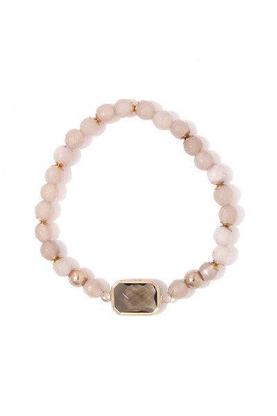 Rectangular bead stretch bracelet