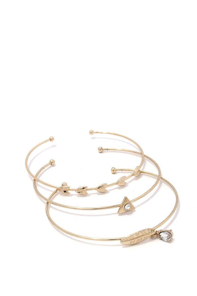 Feather dainty cuff bracelet set
