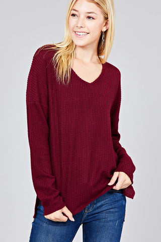 Ladies fashion long dolmen sleeve v-neck brushed waffle knit top
