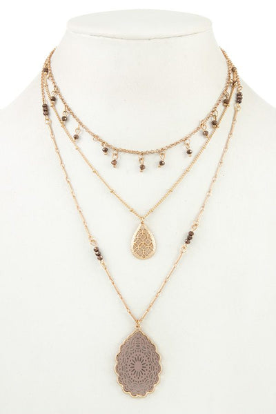 Multi row beaded filigree pendant necklace