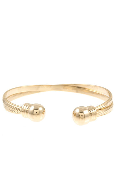 Intertwined etched cuff bracelet