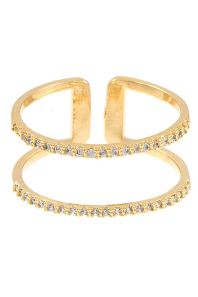 Double row cz stone pave cuff ring
