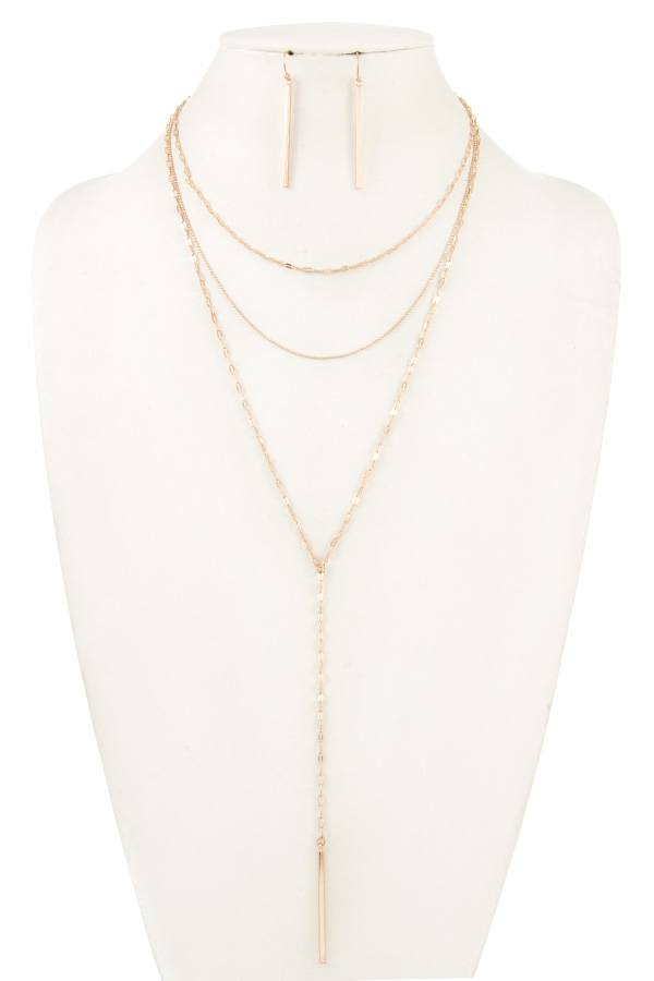 Mix layered chain necklace set
