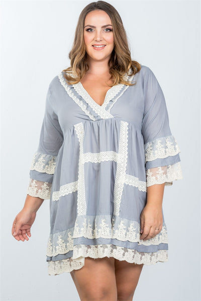 Ladies fashion plus size grey boho lace crochet trim dress