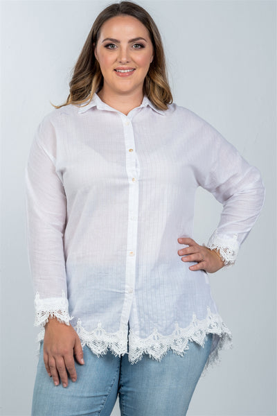 Ladies fashion plus size boho stripe crochet-hem button-up shirt