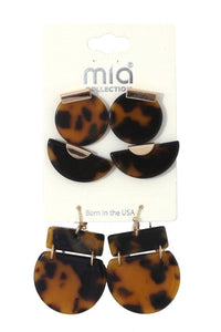 Acetate geometric shape earring set