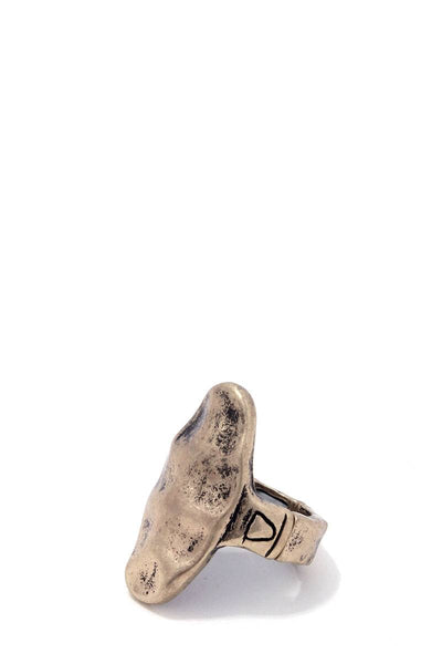 Rustic hammered oval shape stretch ring