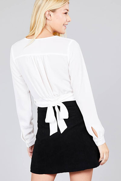 Ladies fashion long sleeve surplice wrap side bow tie closure woven top