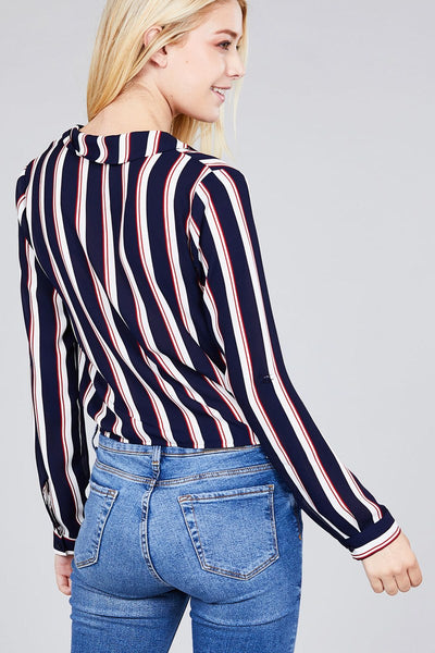 Ladies fashion 3/r roll up sleeve notched collar front tie multi striped woven top