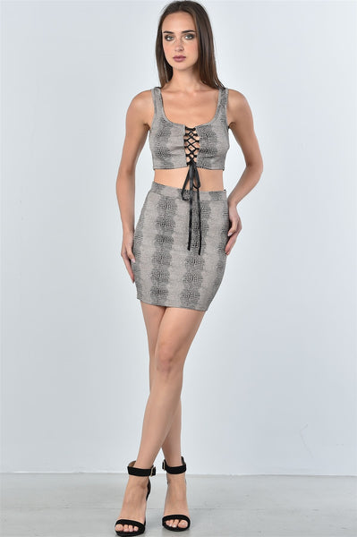 Ladies fashion taupe snake print lace up crop top and mini skirt two piece set