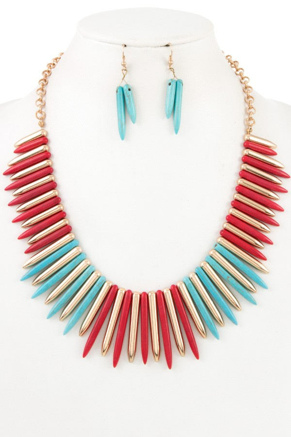 Gemstone spike necklace set