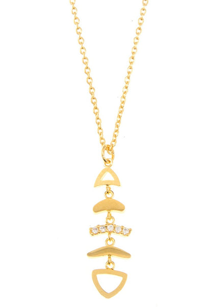 Fish bone pendant necklace