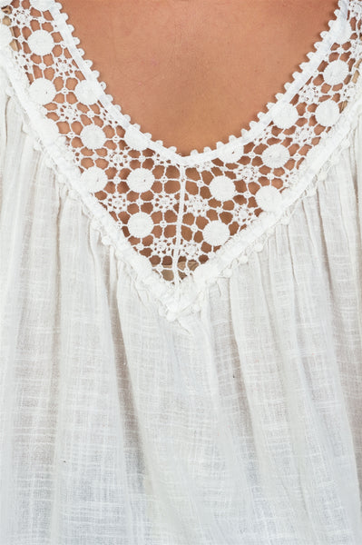 Ladies fashion plus size  boho lace crochet neck ombre top