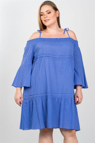 Ladies fashion plus size boho tie-shoulder boho midi dress