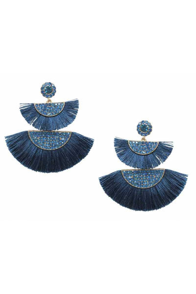 Half circle fan tassel post drop earring