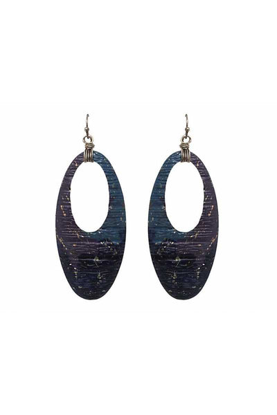 Cutout oval shape drop earring