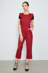 Ladies fashion burgundy ruffle detail adjustable straps jumpsuit