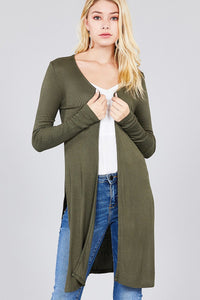 Ladies fashion long sleeve open front side slit tunic length rayon spandex rib cardigan