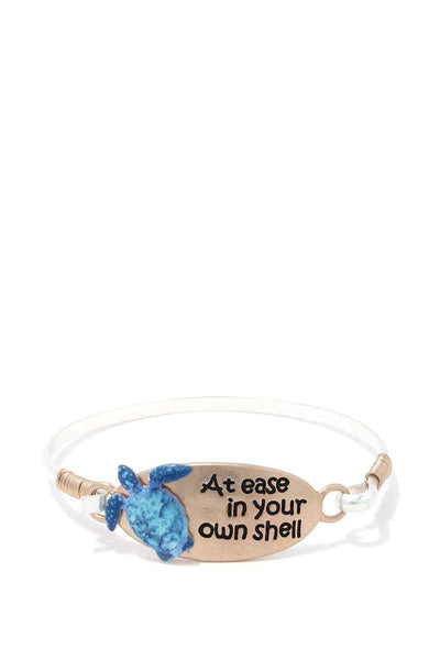 Sea Turtle At Ease In You Own Shell Metal Bracelet