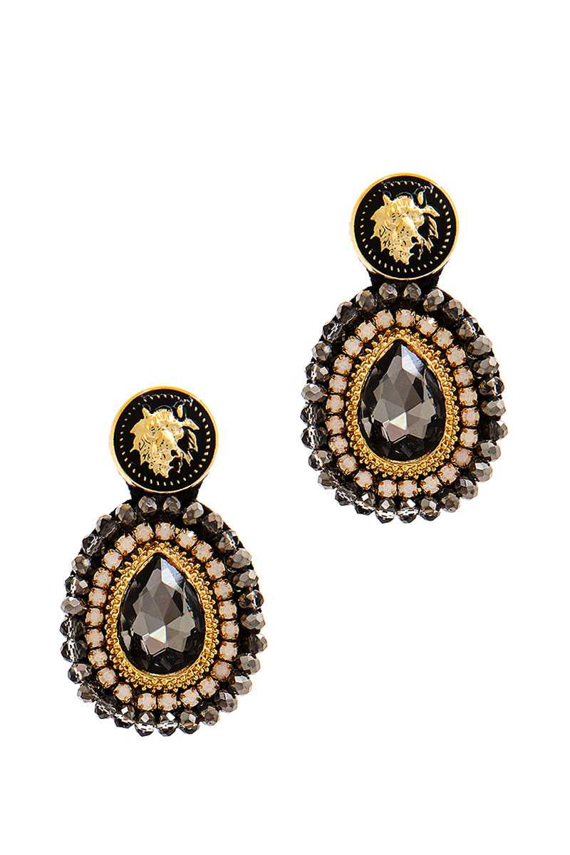 Modern Tear Drop Rhinestone And Bead Earring