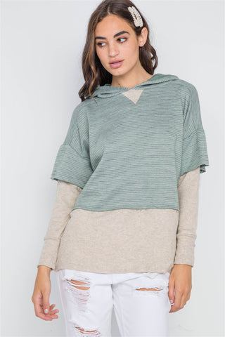 Dark Sage Combo Hooded Long Sleeve Sweater