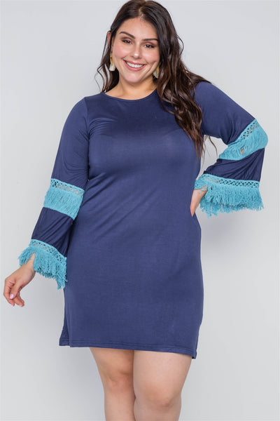 Boho Navy Plus Size Contrast Crochet Mini Dress