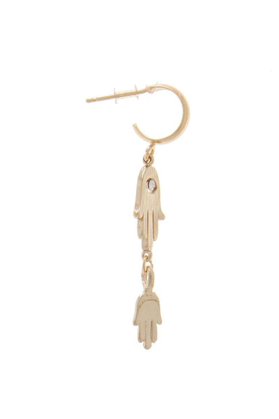 Double Hamsa Hand Drop Earring