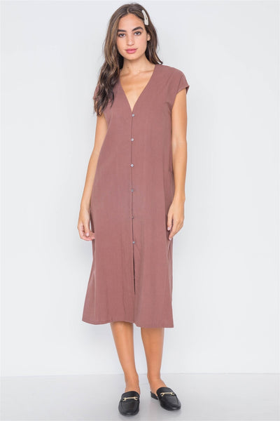 Marsala Button Down Sleeveless Midi Dress