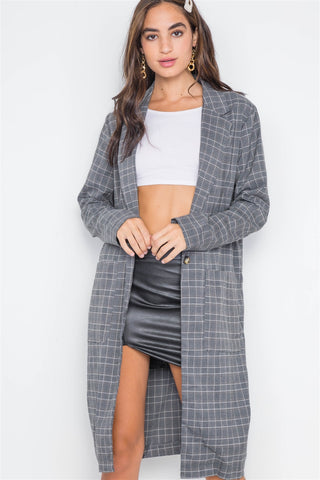 Plaid Single Button Long Sleeve Blazer