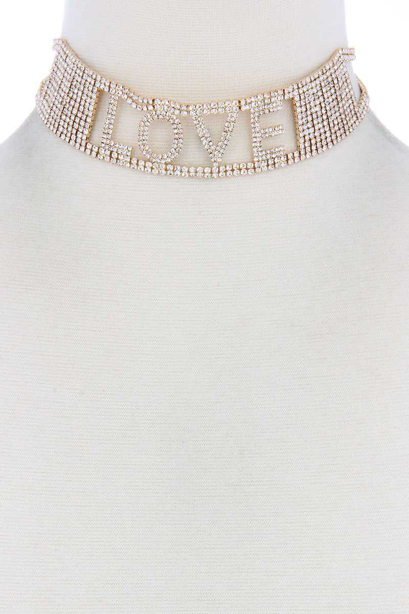 Love Rhinestone Choker Necklace