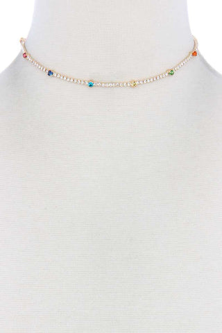 Thin Rhinestone Choker Necklace