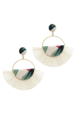 Fabric Half Circle Fan Tassel Post Drop Earring