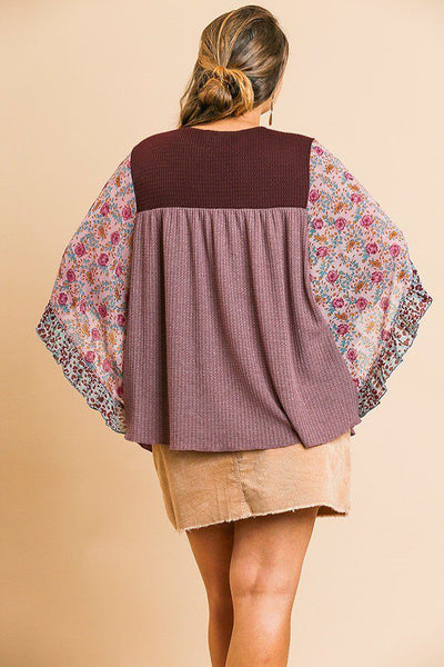 Sheer Floral Mixed Print Dolmen Sleeve Waffle Knit Yoke Knit Top