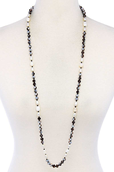 Trendy Multi Beaded Long Necklace