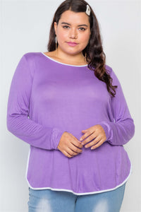 Plus Size Knit Long Sleeve Contrast Trim Top