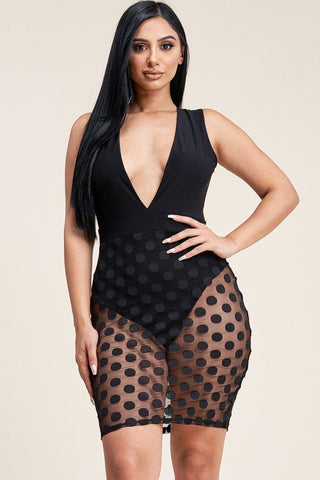 Sleeveless Plunged V Neck Mini Dress With Burnout Mesh Skirt