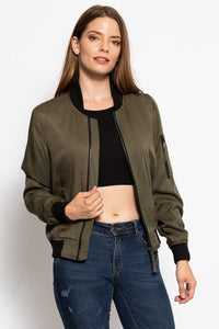 Classic Olive Green Bomber Jacket