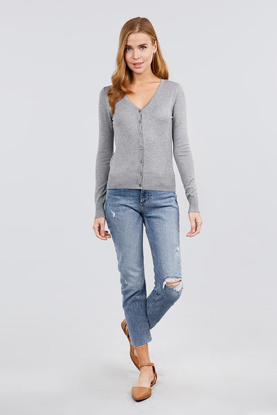 Long Sleeve V-neck Button Down Sweater Cardigan