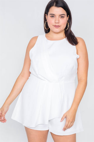 Plus Size White Pleated Semi-sheer Short Romper