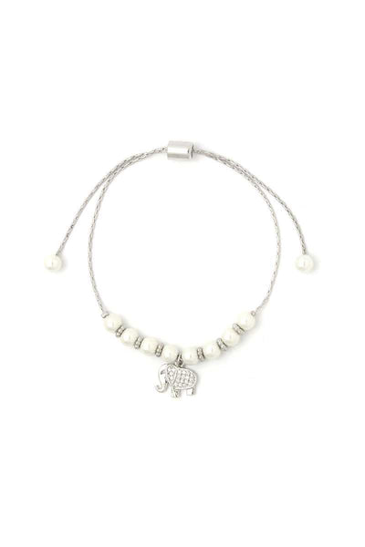 Elephant Charm Beaded Adjustable Bracelet
