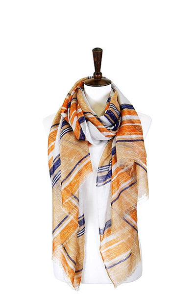 Striped Lurex Oblong Scarf