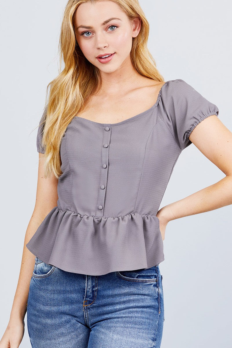 Short Sleeve Heart Neck W/button Back Smocking Detail Flare Hem Woven Top