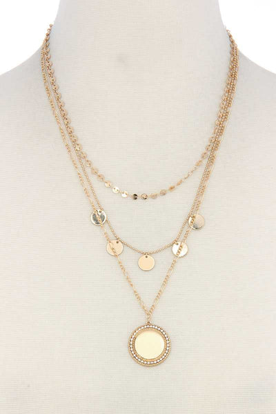 Metal Circle Charm Multi Layered Necklace
