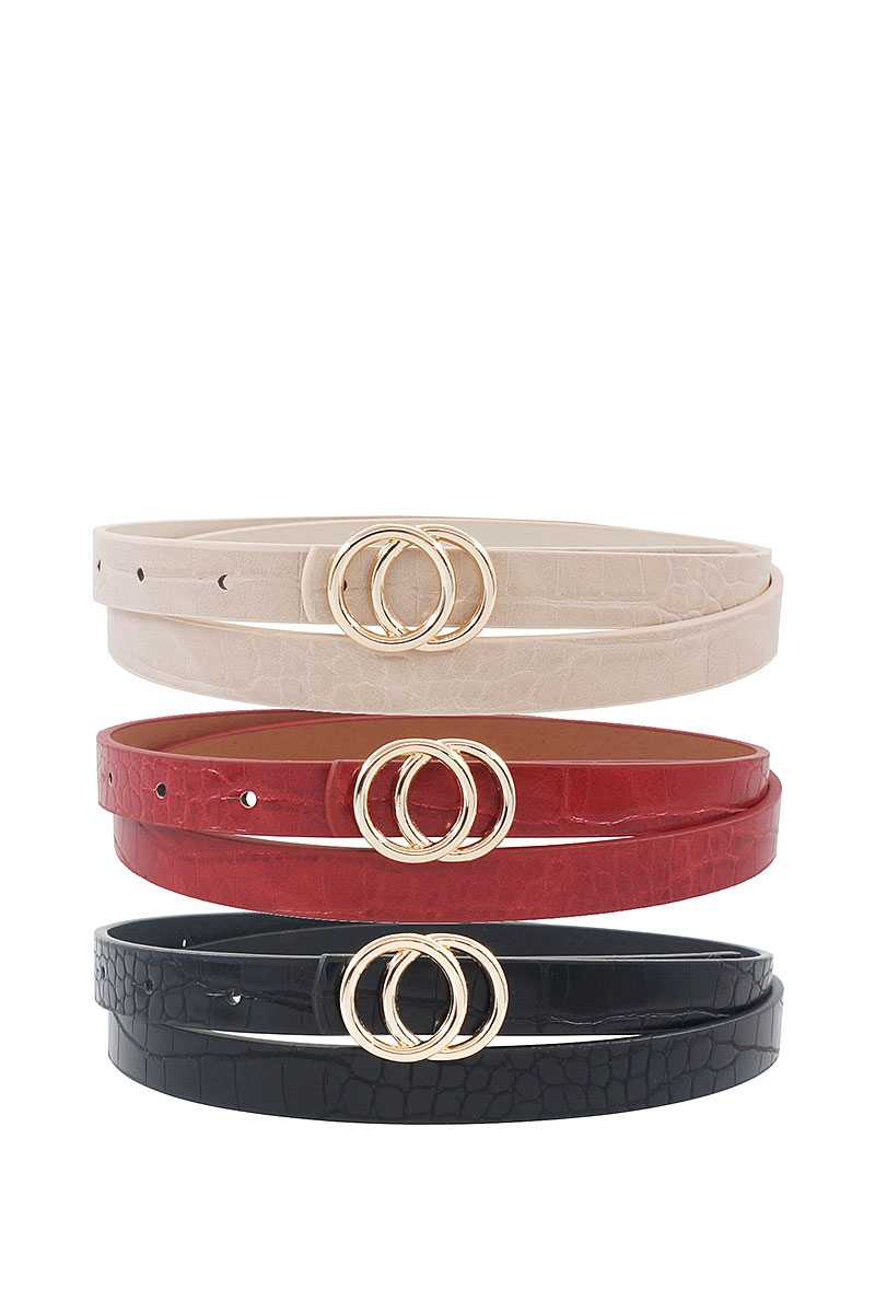 3 Stylish Croco Pattern Double Circle Buckle Skinny Belts