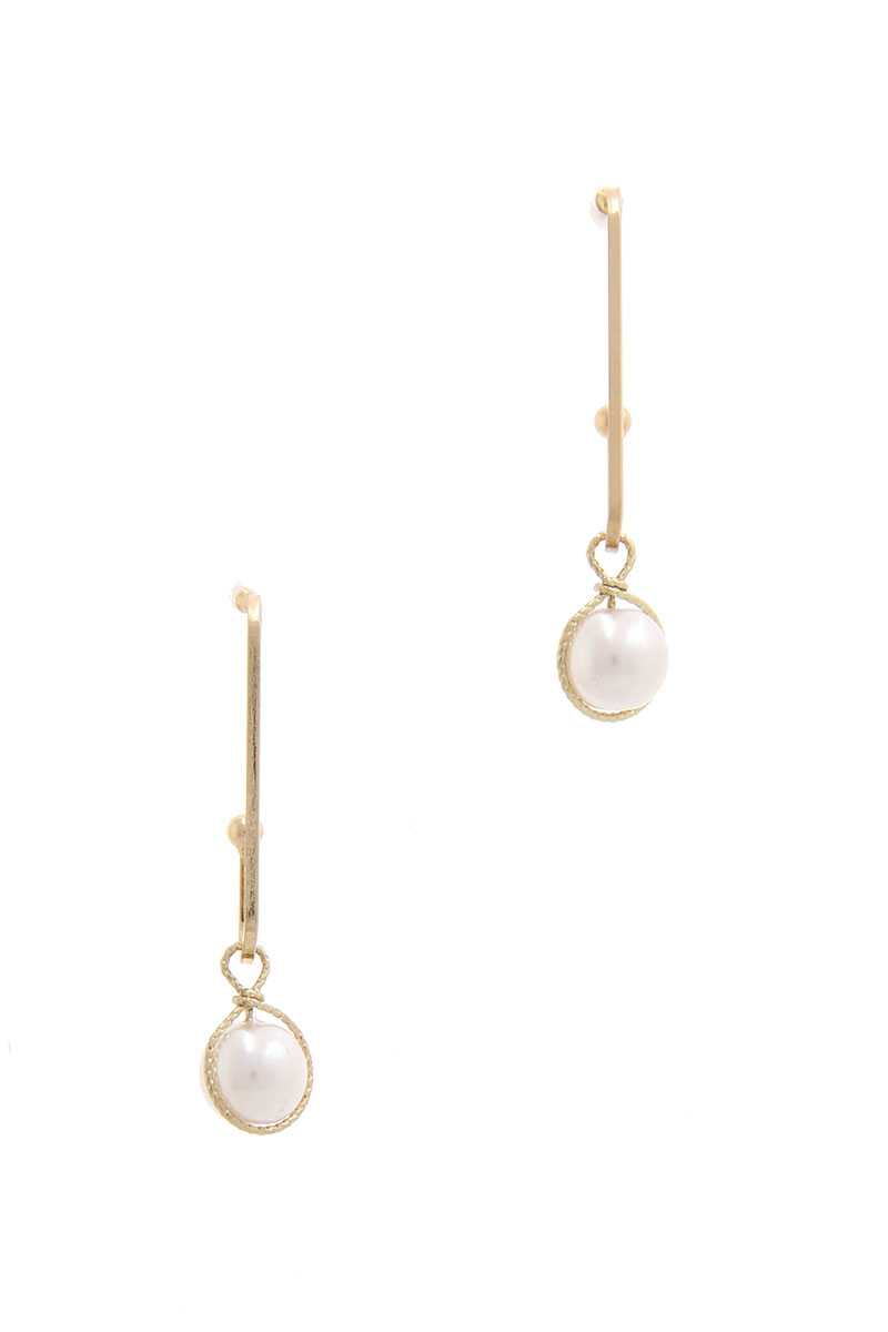 Wire Wrapped Pearl Drop Earring