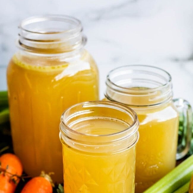 Bone broth with tea in jars